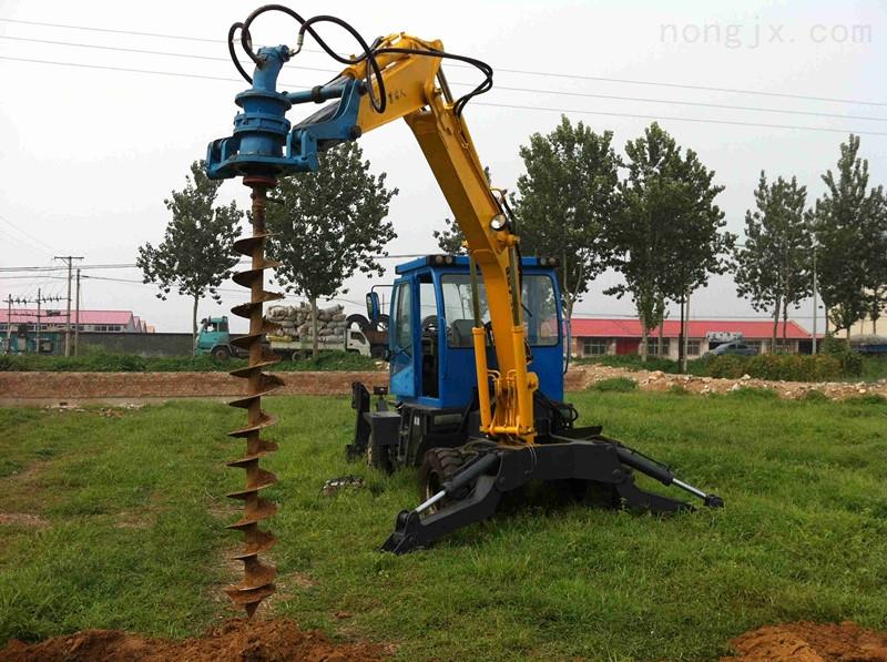 钻孔机轮式挖掘机挖坑机钩机电线杆打坑机